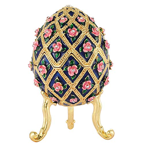 Furuida Faberge Egg Style Diamond Flower Enamel Jewelry Trinket Box Hinged Ornaments Gift for Home Decor (Blue)