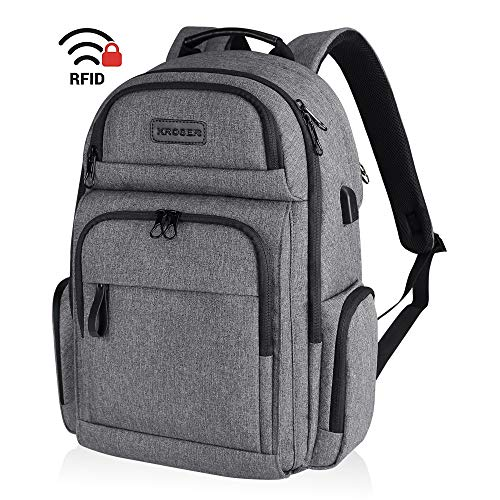 KROSER Travel Laptop Backpack Stylish 15.6 Inch Computer Backpack with Hard Shelled Saferoom RFID Pockets Water-Repellent Sturdy School Daypack for Work/Business/College/Men/Women-Grey