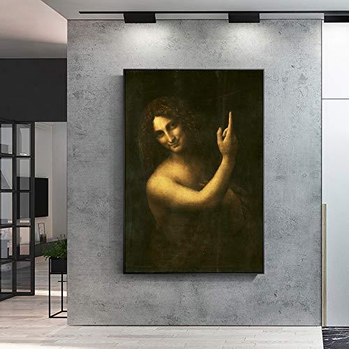 JNZART St. John The Baptist Berühmte Kunst Gemälde Reproduktionen Drucken auf Leinwand Kunstdrucke Von Leonardo Da Vinci Für Wohnzimmer Wandkunst 40x60cm