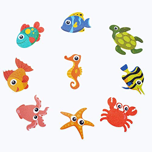 Non-Slip Bathtub Stickers Pack of 20 Large Sea Creature Decal Treads. Best Adhesive Safety Anti-Slip Appliques for Bath Tub and Shower Surfaces (20)