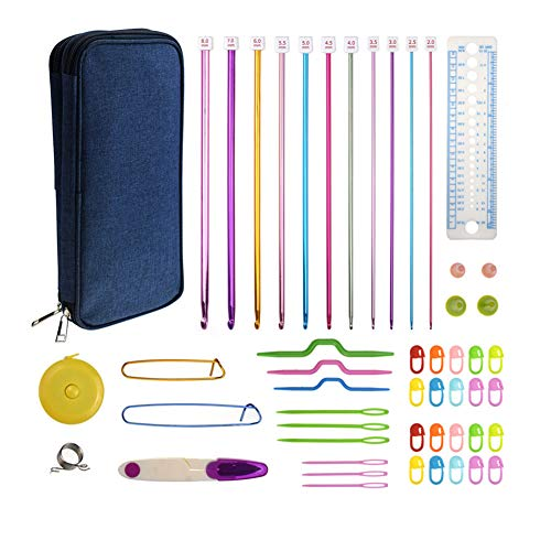 COPYLOVE Tunisian Crochet Hooks Set, 11 Pieces Different Size and Multicolour Afghan Aluminum Knitting Needles Set (2mm to 8mm)