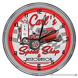 Decorative Concepts Classic Hot Rods Speed Shop 16 Light Up Red Neon Clock