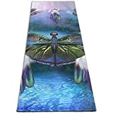 Dream Catcher Dragonfly print Yoga Mat 5mm Print Thick Non Slip Exercise & Fitness Mat for All Types of Yoga, Pilates & Floor Workouts (180CMx 61CMx0.5CM)