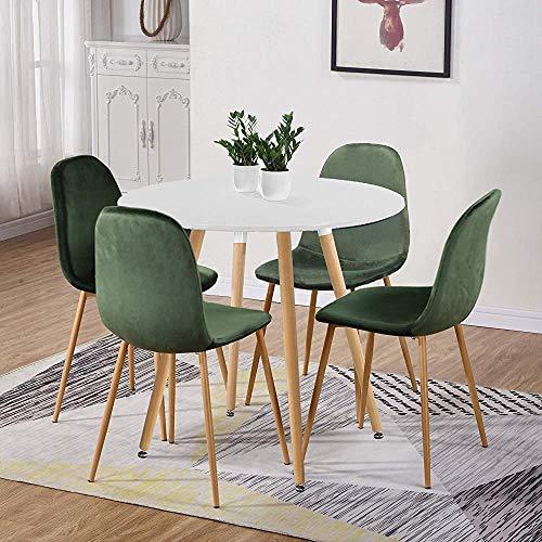 Mesa redonda y mesa de madera de estilo de madera y plástico Silla de restaurante, 90 cm,Green