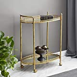 "Deco 79 93749 2-Tier Textured Gold Iron & Oval Mirror Rolling Bar Cart, 30"" x 35"""