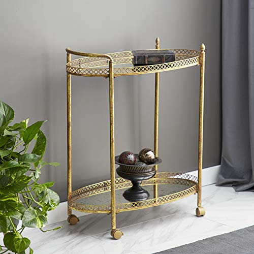 """Deco 79 93749 2-Tier Textured Gold Iron & Oval Mirror Rolling Bar Cart, 30"""" x 35"""""""