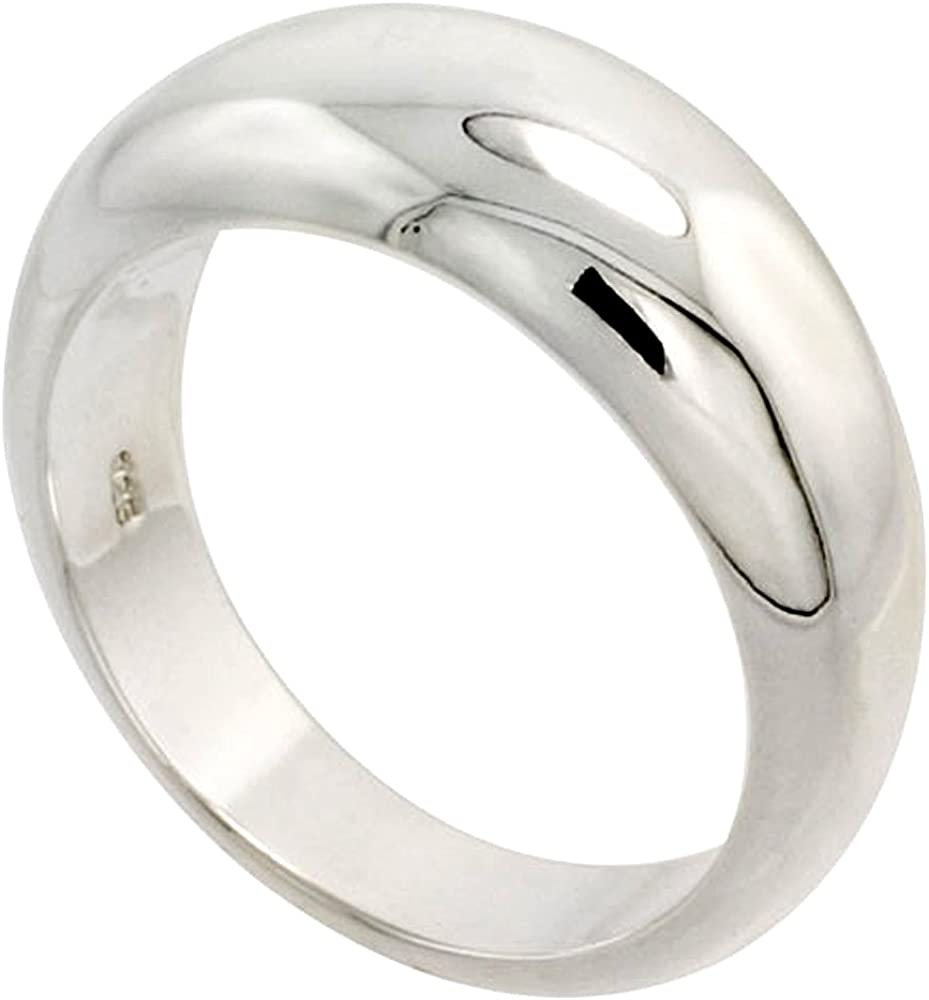 Sterling Silver Low Dome Cigar Band San Antonio Mall for Limited price Hefty Women Flawles Ring