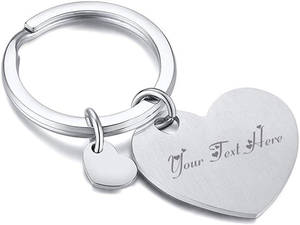 MPRAINBOW Custom Personalized Stainless Steel Heart Love Keychain Keyring Keychain for Girl Women,Mom Daughter GF Gift