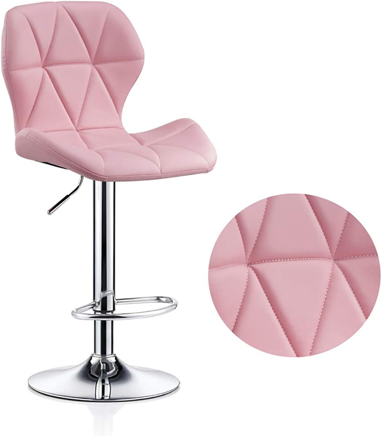 LLYU Modern bar Stool bar Chair Breakfast bar Stool can be redated PU Leather Chair backrest, footrest Height Adjustable, 3 colors (color   Pink)