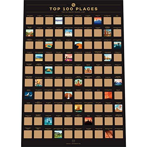 Enno Vatti Póster para rascar con 100 Lugares – Los Mejores destinos de Viaje Lista de Deseos (42 x 59,4 cm)