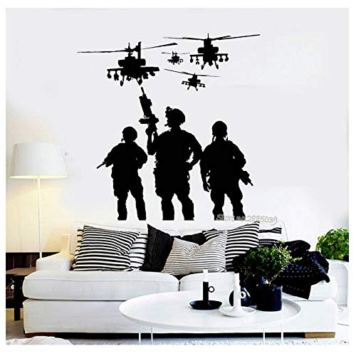 Kaffee Soldaten Hubschrauber Militärkrieg Aufkleber Vinyl Abnehmbare Wandtattoo Aufkleber Wohnzimmer Junge ZimmerSofa Hintergrund