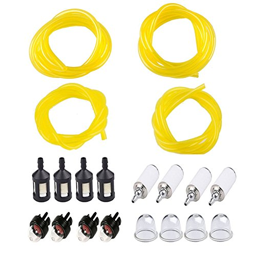 Podoy Tygon Fuel Line for Compatible with Poulan Weedeater Chainsaw Parts Repower Fuel Line Kit 4 Sizes with Snap in Primer Bulb Zf-1 Fuel Filter Craftman String Trimmer Blower Common 2 Cycle Small