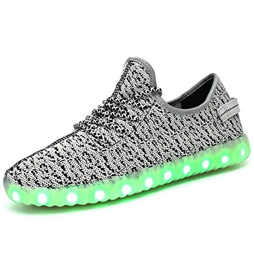 FASHOE Kids Boys Girls Breathable LED Light Up Shoes Flashing Sneakers-113001-Grey-26