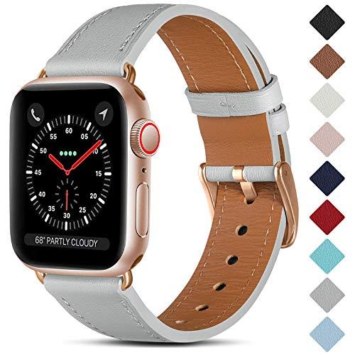 CeMiKa Cinturino in Pelle Compatibile con Apple Watch Cinturino 38mm 40mm 42mm 44mm, Cinturini di Ricambio in Vera Pelle Compatibile con iWatch SE/Series 6 5 4 3 2 1, 38mm/40mm, Grigio/Oro Rosa