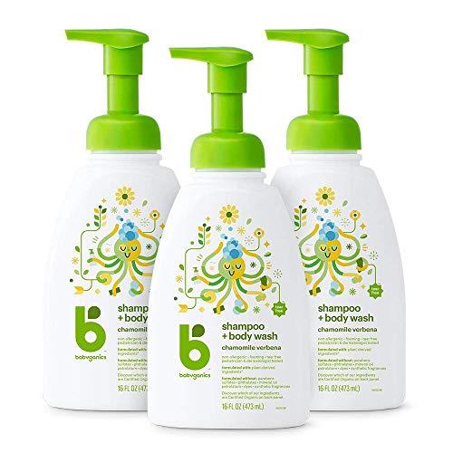 Babyganics Baby Shampoo + Body Wash Pump Bottle, Chamomile Verbena, Packaging May Vary, 16 Fl Oz (Pack of 3)