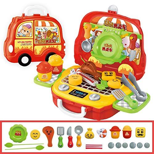 Absir Kinder niedlichen Cartoon Spielhaus Koffer Form Spielzeug Set Barbecue Auto