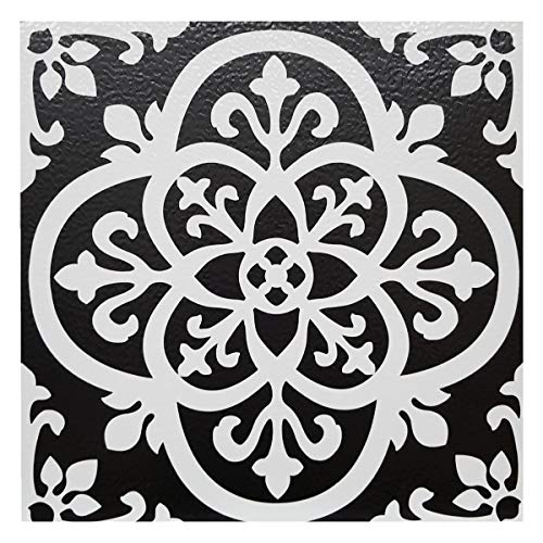 FloorPops - Lote de 10 baldosas de vinilo adhesivas para suelo, diseño gótico, color blanco y negro