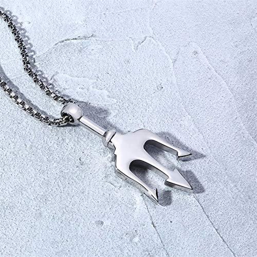 QiuYueShangMao Collar con Colgante de tridente en Acero Inoxidable para Hombre, Collares llamativos, Regalo para Amantes del mar Unisexo Regalo de joyería