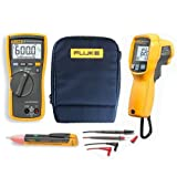 FLUKE 113Combo Kit–KIT74–incluye Fluke 113True RMS multímetro LCD, 62max + (Plus) termómetro de infrarrojos (por infrarrojos), 1AC Detector de voltaje/indicador/Voltstick y C115funda blanda