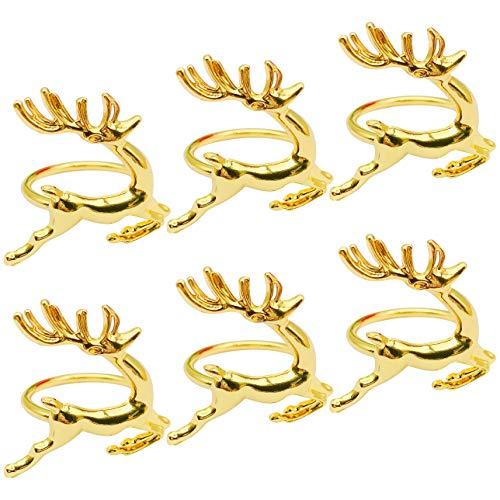 MA Keleily Hirsch Serviettenringe 6 Stück Hotel Serviettenring, Kreative Hirschform Schnallen Eleganter Ring Geeignet für Geburtstagsfeier Weihnachten Hochzeitsessen Restaurant Tischdekoration, Gold