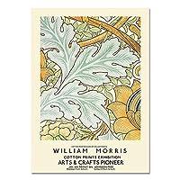 ウィリアムモリス展示ポスター、モダンウォールアート、レトロな花の絵、リビングルームのフレームレスキャンバス絵画 A4 40x60cm
