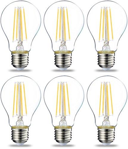 AmazonBasics E27 LED Lampe, 7W (ersetzt 60W), klar, 6er-Pack