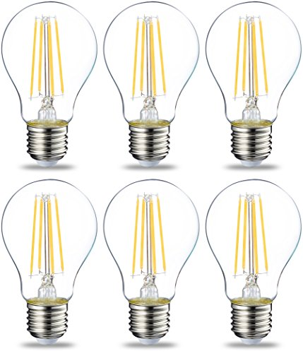 Amazon Basics Ampoule LED E27 A60 avec culot à vis, 7W (équivalent ampoule incandescente 60W), transparent avec filament - Lot de 6