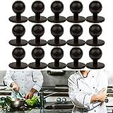Bottoni Rotondi per Giacca da Chef, Set di Ricambio da 15 Pezzi, Bottoni da Cuoco A Pallina con Diametro Della Testa di 12.5 mm, Dimensioni 19 x 12.5 x 18 mm, Bottoni Neri Per Divisa Da Cucina