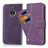 Ausiwsh Moto G5s Hülle,Lederhüllen klappbar Schutzhülle Hülle Mit Kartenfach Magnet Matt Leder Klapphülle Ständer Stand Dünn Stoßfest Staubschutz Handyhüllen für Motorola Moto G5s Hüllen Violett