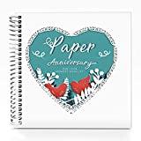 Unique First Wedding Anniversary Memory Book with Stickers and A Matching Card - Perfect Memory Journal for Paper Anniversary - Perfect for Keepsake Couple Memories - Special Gifts for Him & Her