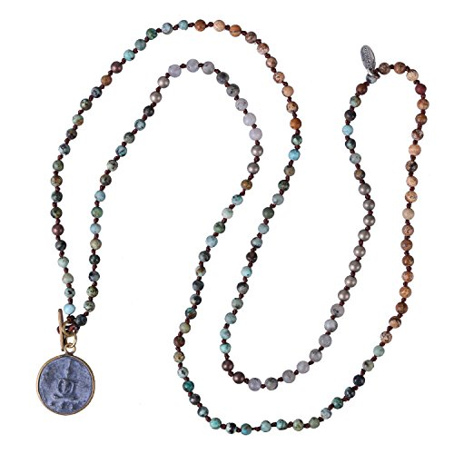 KELITCH Buddha Strand Necklace Long Beaded Sakyamuni Medal Pendant Necklace for Lucky