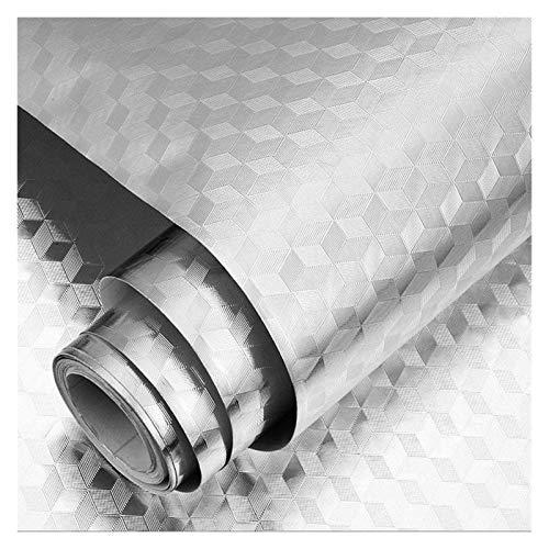 XinQing-Pegatinas de Pared Pasta de Papel de Aluminio, Pasta de Pared a Prueba de Agua Pasta de baldosas, para Cocina, gabinete, cajón, Pared, Plata (Color : B, Size : 0.6X10m)