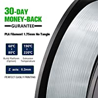 SUNLU Filamento per Stampante 3D, Filamento PLA 1.75, Tangle Free Filamento PLA, 1KG Trasparente #5