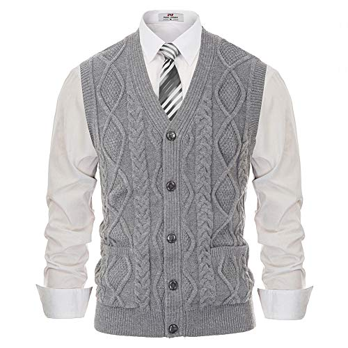 Mens Cable Sweaters Vest Sleeveless Button Down Knit Cardigan Vest Light Grey L
