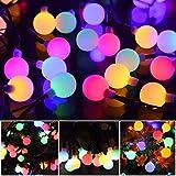 12M Lichterkette Bunt Kugel Solar Aussen Kette 100er LED String lights mit 8 Modi IP54 Wasserdicht, Globe Solarbetriebene Lichterkette...