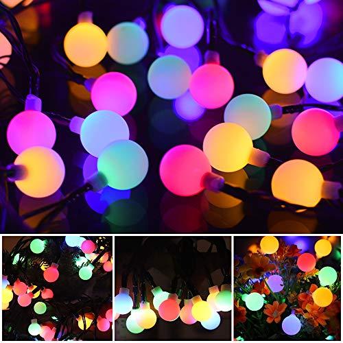 12M Lichterkette Bunt Kugel Solar Aussen Kette 100er LED String lights mit 8 Modi IP54 Wasserdicht, Globe Solarbetriebene Lichterkette Außenlichterkette Garten Lichterkette für Party Beleuchtung