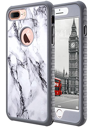 ULAK iPhone 7 Plus Case, Shockproof Flexible TPU Bumper Case Front and Back Protection, Durable Anti-Slip Slim Lightweight Protective Phone Cover for iPhone 7 Plus 5.5 inch, Marble Pattern