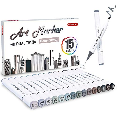 Shuttle Art 15 Colors Grey Tones Dual Tip Art Marker, Permanent Marker Pens Double Ended with Fine Bullet and Chisel Point Tips Perfect for Drawing,Shading,Sketching,Designing,Outlining,Illustrating