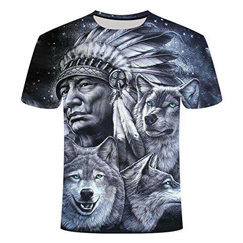 LIUZIXI 3D Fun Druckten T-Shirts,Unisex T-Shirt Casual Short Sleeve Personalisiertes Drucken Indianer Und Wölfe Grafik Sommer Mode Luftdurchlässigkeit Rundhals T-Shirts Tops Für Männer, Frauen, XL