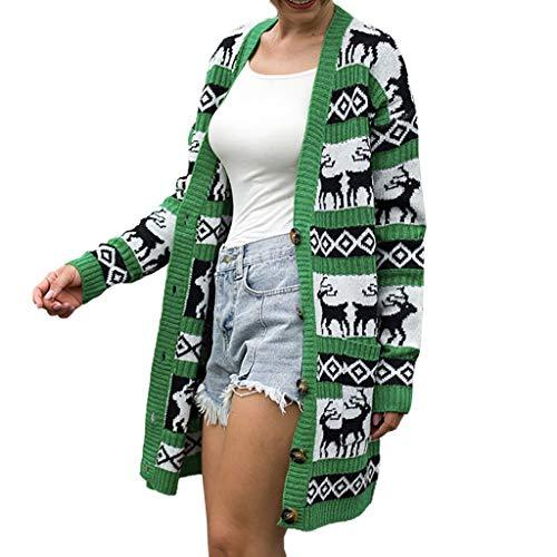 VJGOAL Long Manteau Cardigan Femme De Noël Motif Animal Pull Tricot Les Poches Automne Hiver Mode Veste Festival Club Fete Sweet Dessin Animé T-Shirt Gilet Sauvage Cardigan Blouson S-XL