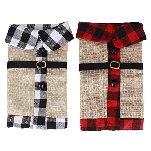 Wine Bottle Cover -2Pcs Christmas Cloth Wine Bottle Cover Drinkware for Xmas Party Decorations Ornament(Plaid Pattern)