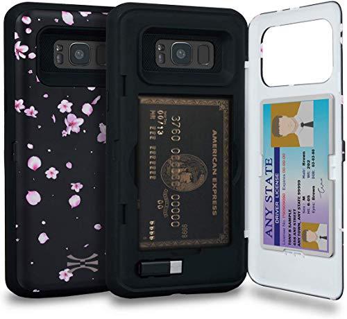 TORU CX Pro Funda Galaxy S8 Plus Carcasa Cartera Diseño Floral con Tarjetero Oculto y Espejo para Samsung Galaxy S8 Plus - Flores de Sakura