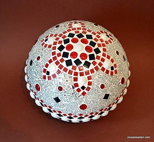 Handgemachte Rosenkugel rot schwarz weiß spiegel 25 cm Durchmesser Nr. 1145