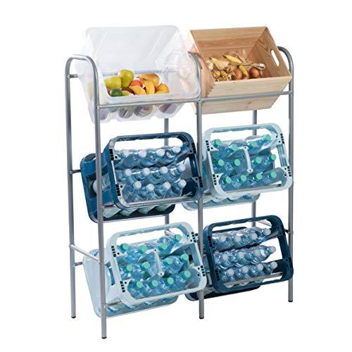 Ribelli Flaschenkastenregal für genormte Getränkekisten,Euroboxen o. Klappboxen - Getränkekistenregal aus grau lackiertem Stahlrohrgestell - Anzahl Kisten (6 Kisten grau)