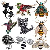 Ulalaza 9Pcs Cute Rhinestone Animal Insect Brooch Pin Set Vintage Elephannt Cat Owl Corsages Scarf Clips Jewelry Accessories for Ladies