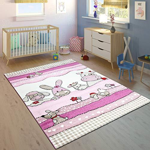 Kinderteppich Kinderzimmer Konturenschnitt Farm Tiere Pink Rosa Pastellfarben, Grösse:140x200 cm