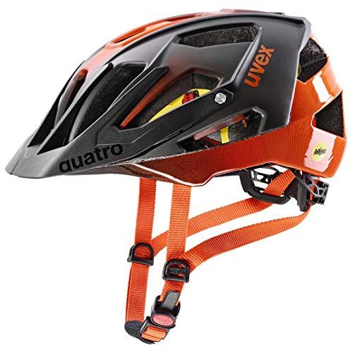 uvex Unisex– Erwachsene Quatro cc MIPS Fahrradhelm, titan - orange, 52-57 cm