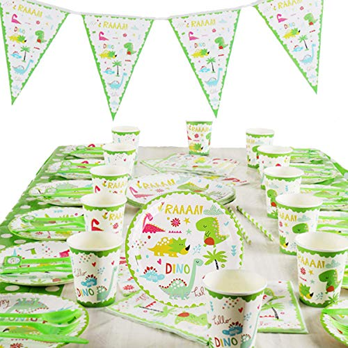 Yoodelife Party Plates Cups Dinosaur Party Supplies for Birthday Baby Shower Dinosaur Themed Party Decoration, Serve 12