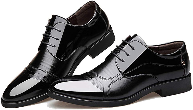 ZHRUI Mens Dress shoes Black Men Oxford shoes Lace Up Casual Business Males shoes Men Wedding shoes (color   BLACK A, Size   8.5=42 EU)