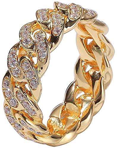QIOQIO La Nueva joyería Helada Fuera de Moda Personalizada Cuba Link Chain Ring 18k Oro Chapado en Oro CZ Anillo de Hip Hop de Diamante simulado para Hombres Mujeres (Color : Gold, Ring_Size : 6)